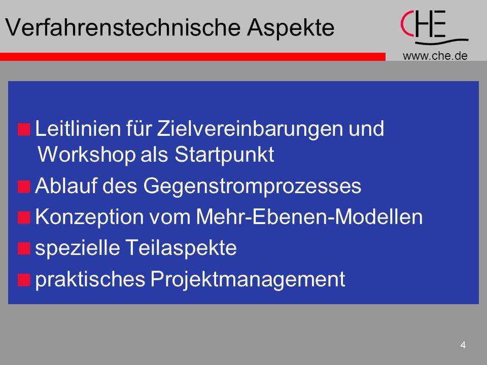 www.che.de 4 Verfahrenstechnische Aspekte Leitlinien für Zielvereinbarungen und Workshop als Startpunkt Ablauf des Gegenstromprozesses Konzeption vom