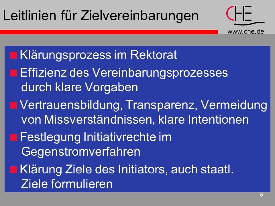 www.che.de 5 Leitlinien für Zielvereinbarungen Klärungsprozess im Rektorat Effizienz des Vereinbarungsprozesses durch klare Vorgaben Vertrauensbildung