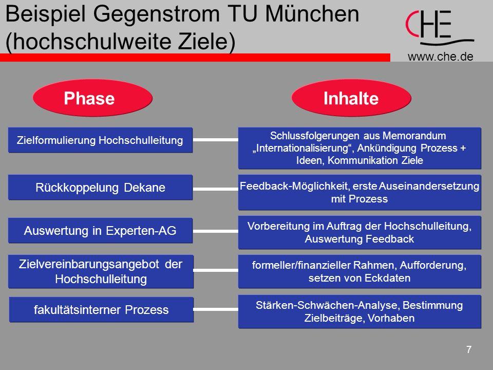 www.che.de 7 Beispiel Gegenstrom TU München (hochschulweite Ziele) PhaseInhalte Zielformulierung Hochschulleitung Schlussfolgerungen aus Memorandum In