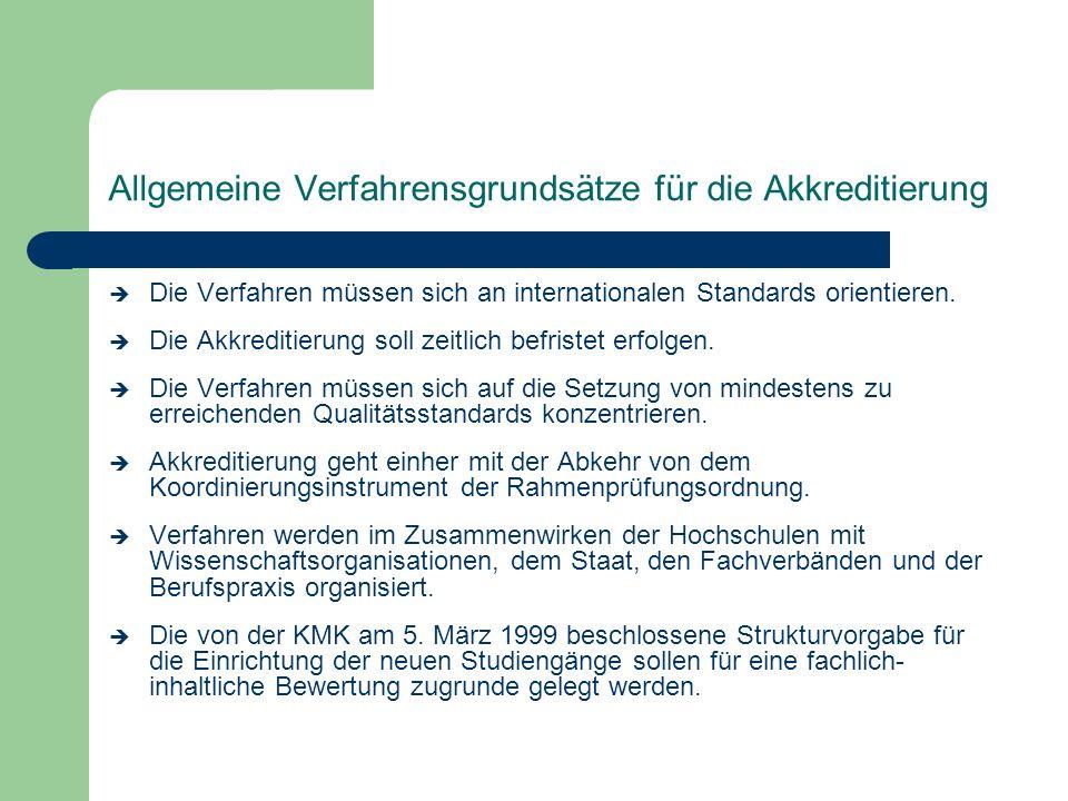 Allgemeine Verfahrensgrundsätze für die Akkreditierung è Die Verfahren müssen sich an internationalen Standards orientieren. è Die Akkreditierung soll