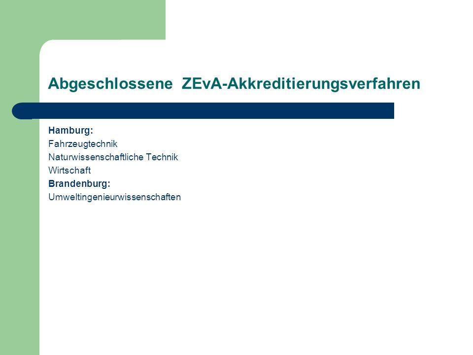 Abgeschlossene ZEvA-Akkreditierungsverfahren Hamburg: Fahrzeugtechnik Naturwissenschaftliche Technik Wirtschaft Brandenburg: Umweltingenieurwissenscha