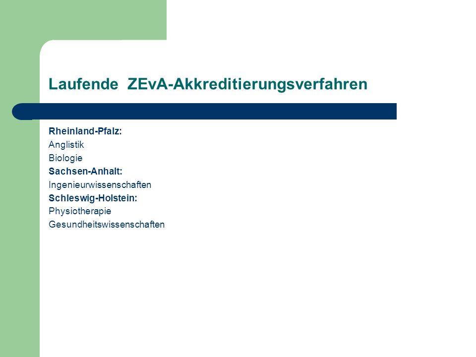 Laufende ZEvA-Akkreditierungsverfahren Rheinland-Pfalz: Anglistik Biologie Sachsen-Anhalt: Ingenieurwissenschaften Schleswig-Holstein: Physiotherapie