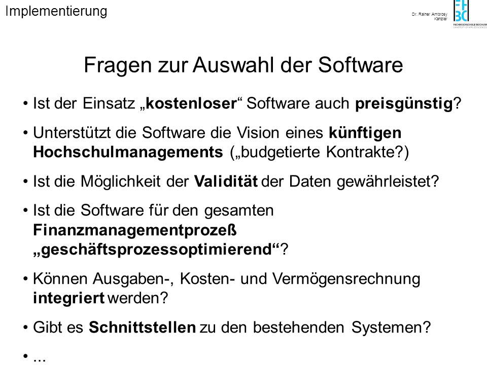 Dr. Rainer Ambrosy Kanzler Fragen zur Auswahl der Software Ist der Einsatz kostenloser Software auch preisgünstig? Unterstützt die Software die Vision