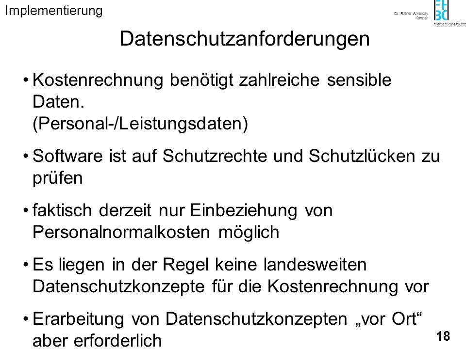 Dr. Rainer Ambrosy Kanzler 18 Datenschutzanforderungen Kostenrechnung benötigt zahlreiche sensible Daten. (Personal-/Leistungsdaten) Software ist auf