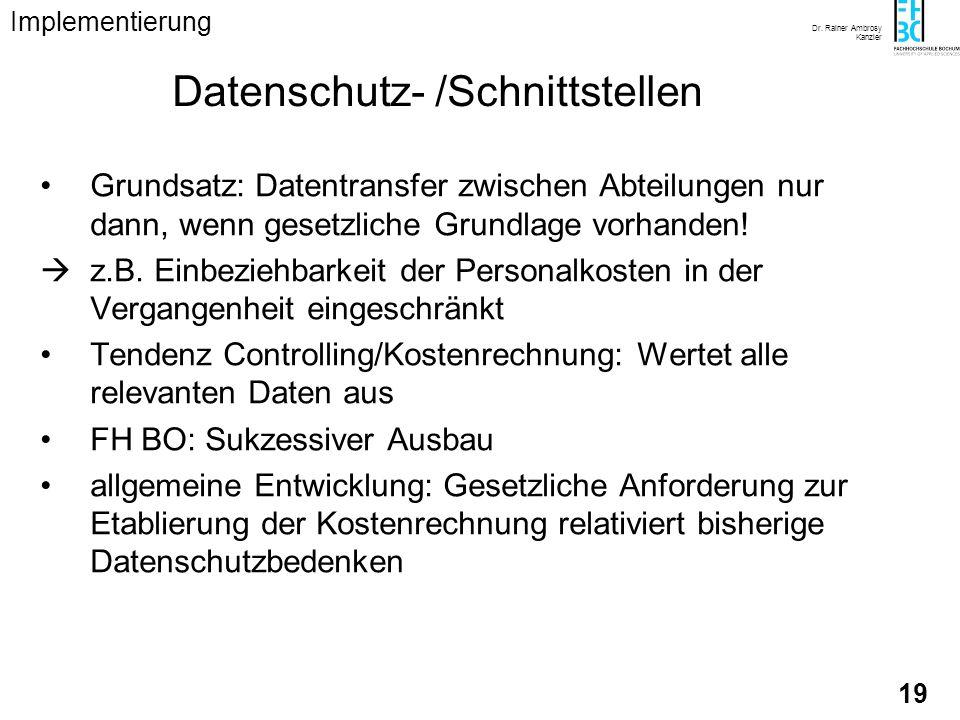 Dr. Rainer Ambrosy Kanzler 19 Datenschutz- /Schnittstellen Grundsatz: Datentransfer zwischen Abteilungen nur dann, wenn gesetzliche Grundlage vorhande