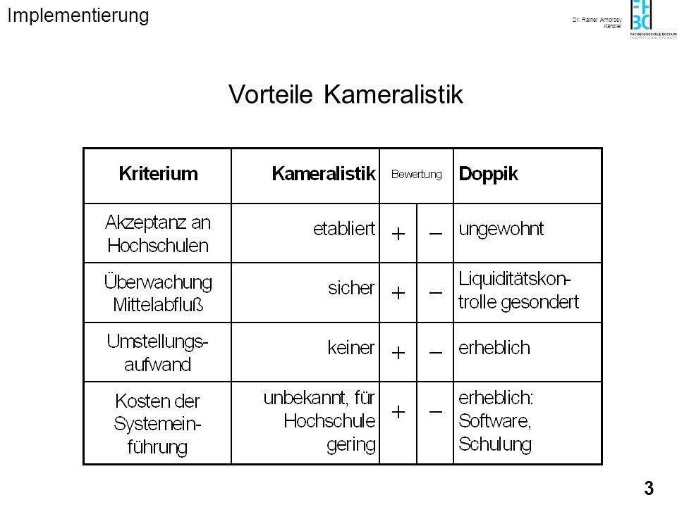Dr. Rainer Ambrosy Kanzler 3 Vorteile Kameralistik Implementierung