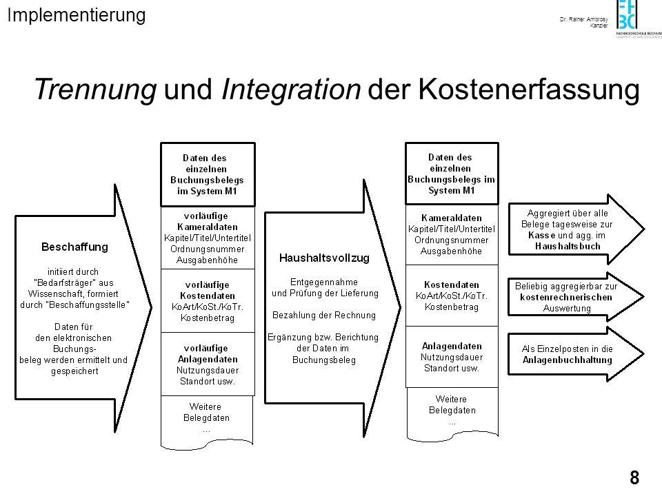 Dr. Rainer Ambrosy Kanzler 8 Trennung und Integration der Kostenerfassung Implementierung