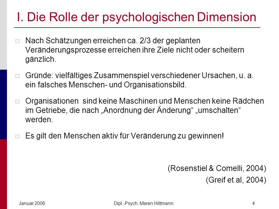 Dipl.-Psych. Maren HiltmannJanuar 20064 I. Die Rolle der psychologischen Dimension Nach Schätzungen erreichen ca. 2/3 der geplanten Veränderungsprozes
