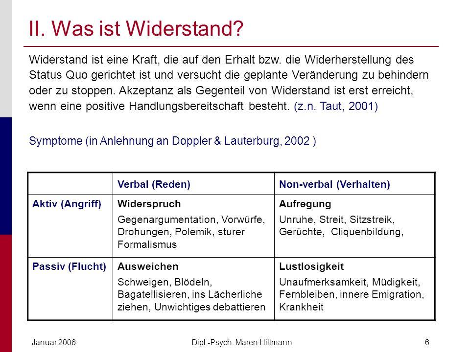 Dipl.-Psych. Maren HiltmannJanuar 20066 II. Was ist Widerstand? Verbal (Reden)Non-verbal (Verhalten) Aktiv (Angriff)Widerspruch Gegenargumentation, Vo