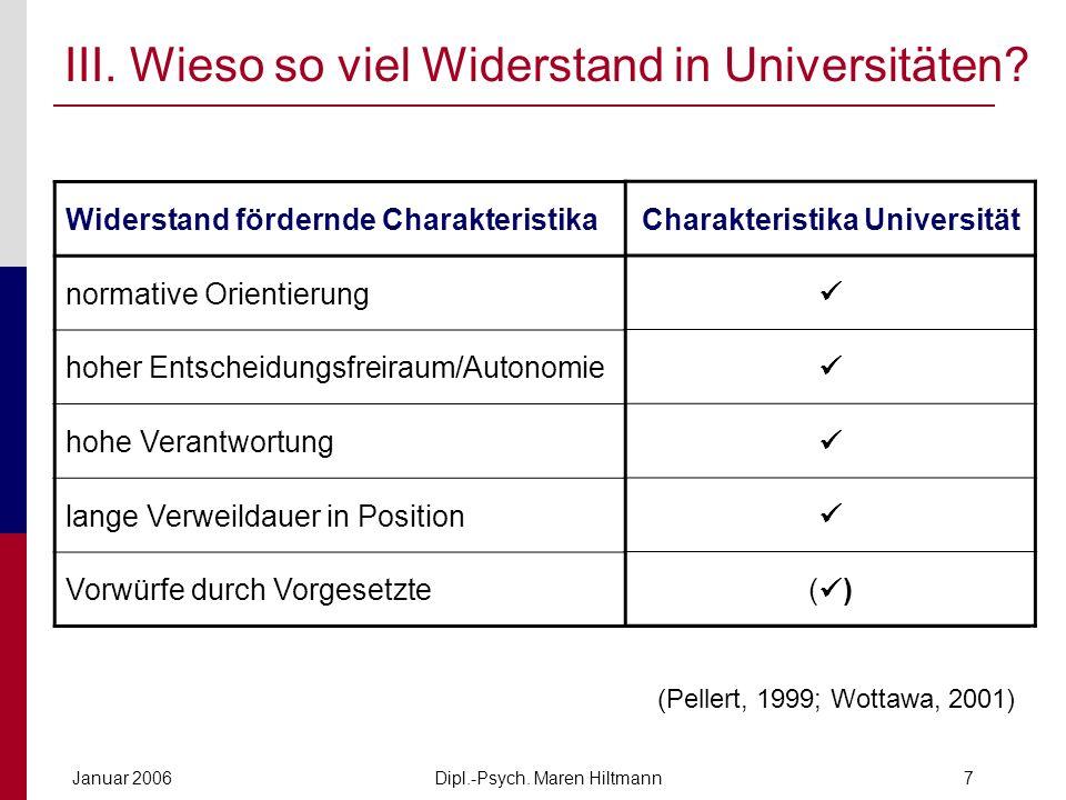 Dipl.-Psych. Maren HiltmannJanuar 20067 III. Wieso so viel Widerstand in Universitäten? Widerstand fördernde Charakteristika normative Orientierung ho