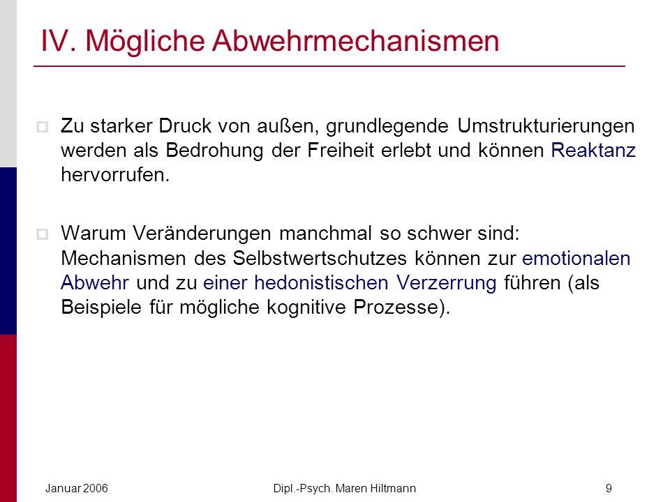 Dipl.-Psych. Maren HiltmannJanuar 20069 IV. Mögliche Abwehrmechanismen Zu starker Druck von außen, grundlegende Umstrukturierungen werden als Bedrohun