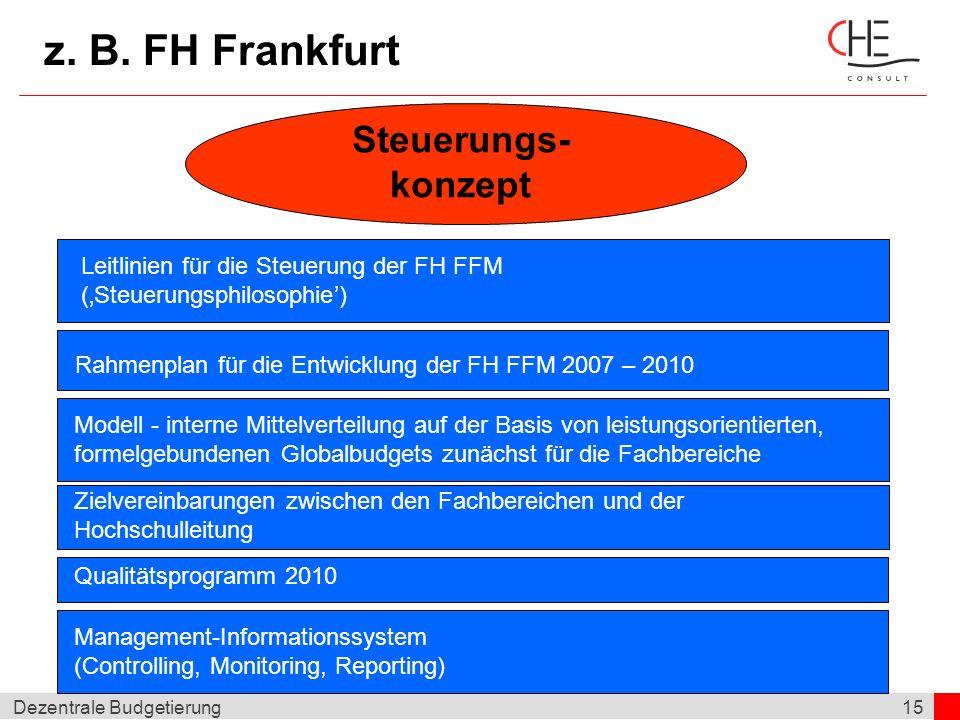 15Dezentrale Budgetierung z. B. FH Frankfurt Steuerungs- konzept Steuerungsziele kritische Masse vorhanden? Leitlinien für die Steuerung der FH FFM (S