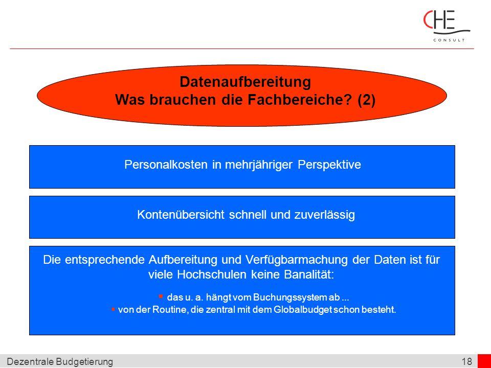 18Dezentrale Budgetierung Datenaufbereitung Was brauchen die Fachbereiche? (2) Steuerungsziele kritische Masse vorhanden? Personalkosten in mehrjährig