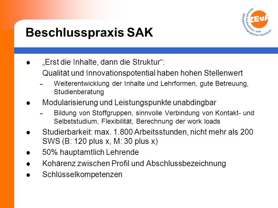 Beschlusspraxis SAK Erst die Inhalte, dann die Struktur: Qualität und Innovationspotential haben hohen Stellenwert – Weiterentwicklung der Inhalte und