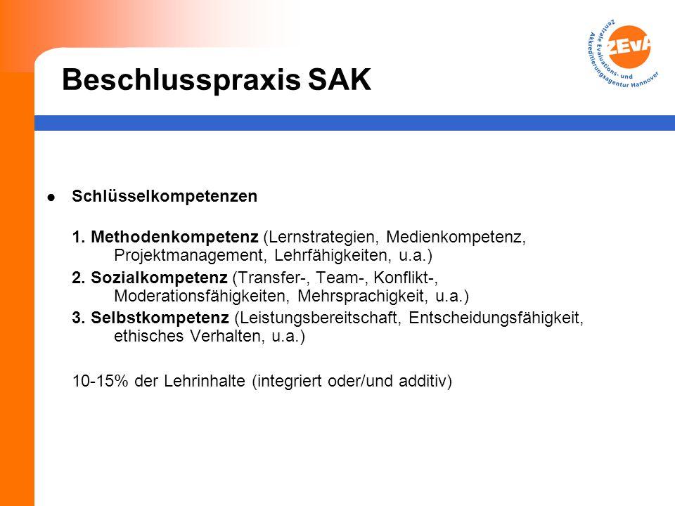 Beschlusspraxis SAK Schlüsselkompetenzen 1.