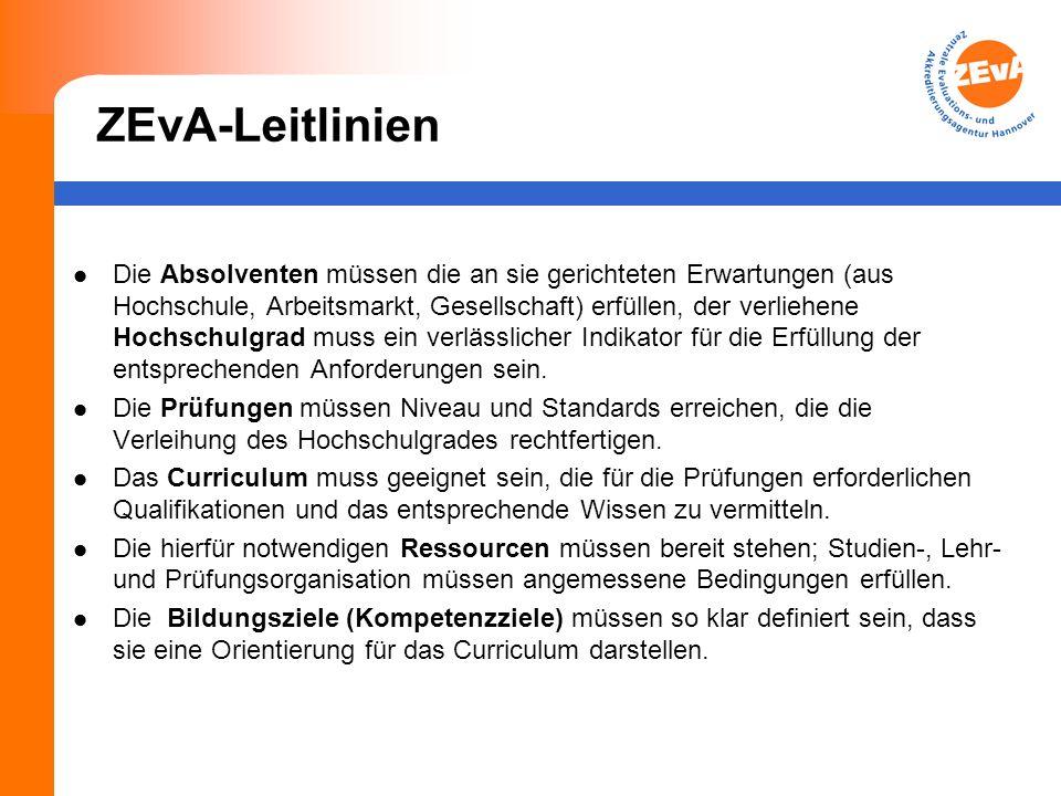 ZEvA-Leitlinien Die Absolventen müssen die an sie gerichteten Erwartungen (aus Hochschule, Arbeitsmarkt, Gesellschaft) erfüllen, der verliehene Hochschulgrad muss ein verlässlicher Indikator für die Erfüllung der entsprechenden Anforderungen sein.