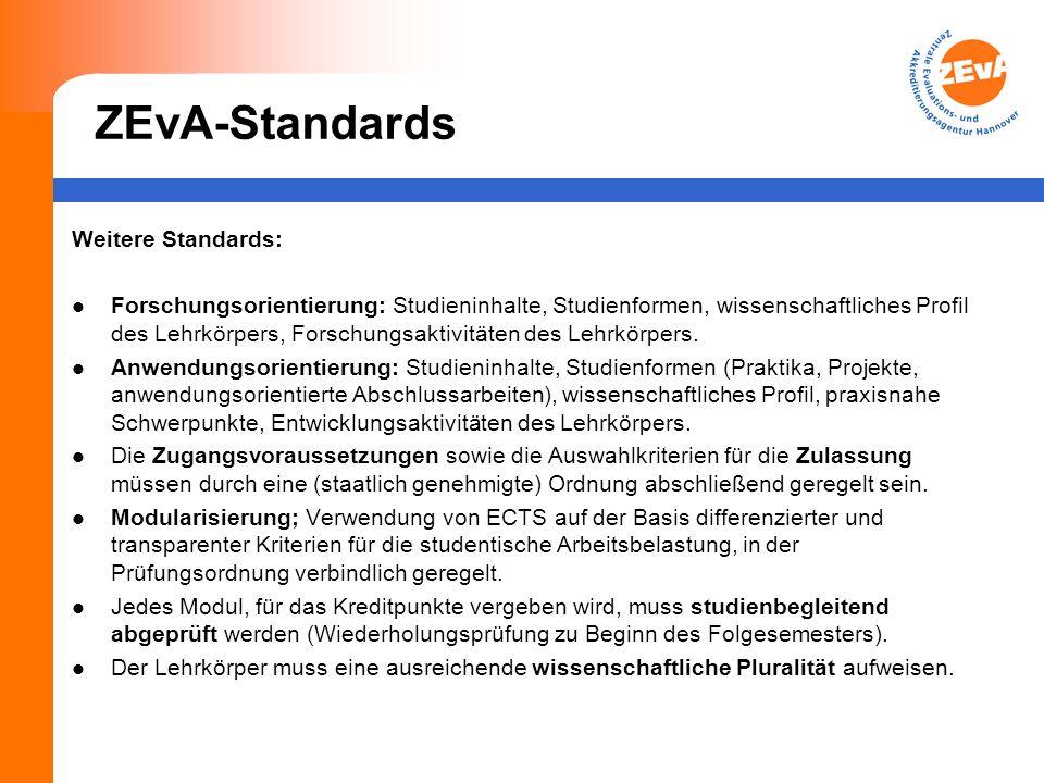ZEvA-Standards Weitere Standards: Forschungsorientierung: Studieninhalte, Studienformen, wissenschaftliches Profil des Lehrkörpers, Forschungsaktivitä