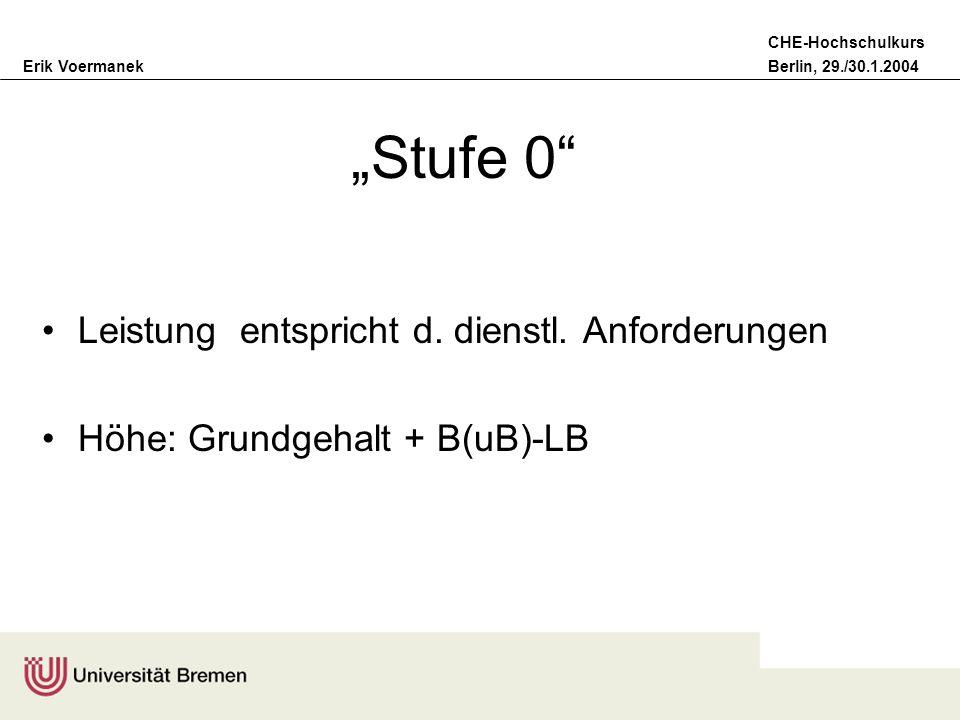 Erik VoermanekBerlin, 29./30.1.2004 CHE-Hochschulkurs Stufe 0 Leistung entspricht d. dienstl. Anforderungen Höhe: Grundgehalt + B(uB)-LB