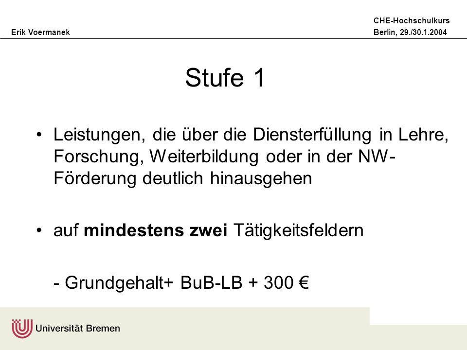 Erik VoermanekBerlin, 29./30.1.2004 CHE-Hochschulkurs Stufe 1 Leistungen, die über die Diensterfüllung in Lehre, Forschung, Weiterbildung oder in der