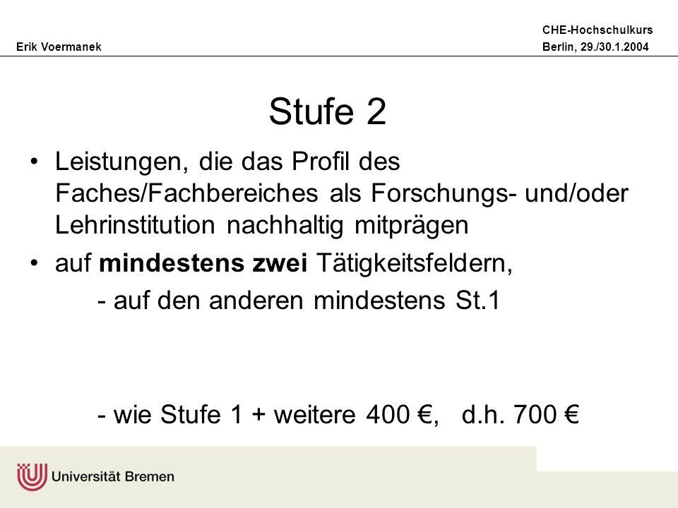 Erik VoermanekBerlin, 29./30.1.2004 CHE-Hochschulkurs Stufe 2 Leistungen, die das Profil des Faches/Fachbereiches als Forschungs- und/oder Lehrinstitu