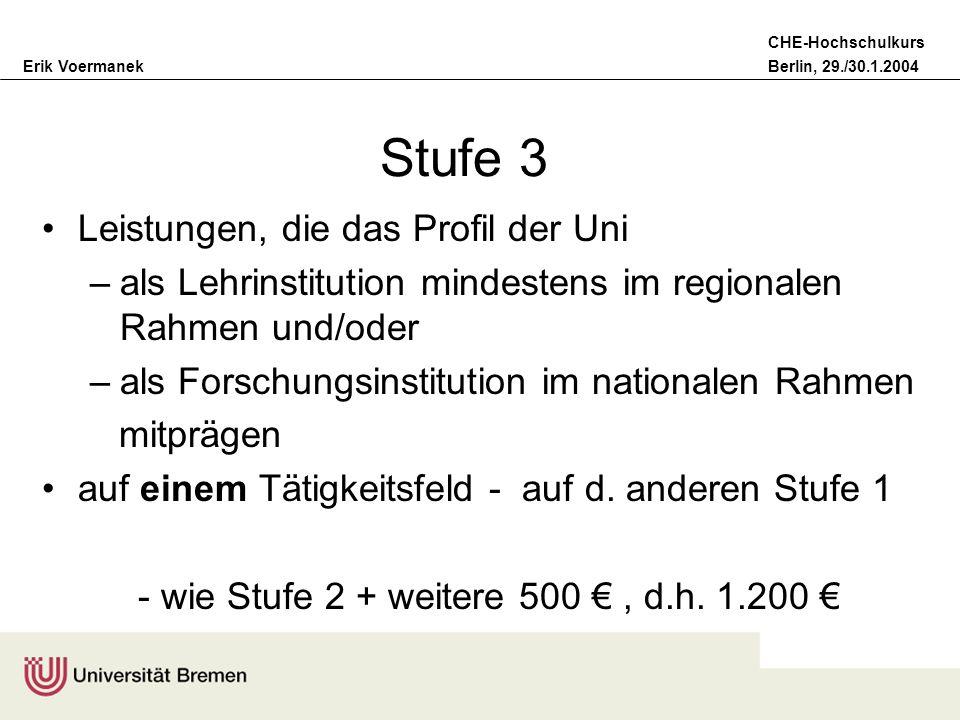 Erik VoermanekBerlin, 29./30.1.2004 CHE-Hochschulkurs Stufe 3 Leistungen, die das Profil der Uni –als Lehrinstitution mindestens im regionalen Rahmen