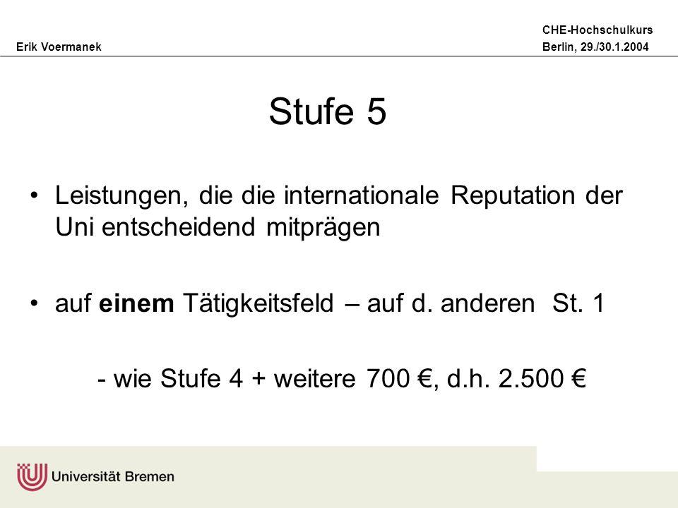Erik VoermanekBerlin, 29./30.1.2004 CHE-Hochschulkurs Stufe 5 Leistungen, die die internationale Reputation der Uni entscheidend mitprägen auf einem T