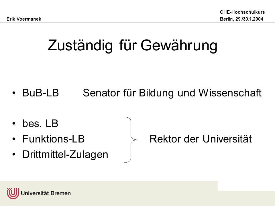 Erik VoermanekBerlin, 29./30.1.2004 CHE-Hochschulkurs Zuständig für Gewährung BuB-LB Senator für Bildung und Wissenschaft bes. LB Funktions-LB Rektor