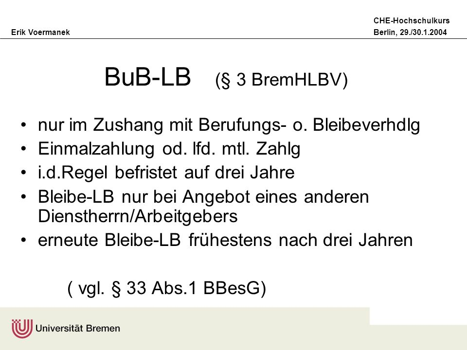 Erik VoermanekBerlin, 29./30.1.2004 CHE-Hochschulkurs BuB-LB Vergabekriterien ( § 3 Abs.1 BremHLBV) Qualität der Forschungsleistung Drittmittelerfolg Beteiligung an FuE-Verbundvorhaben u.