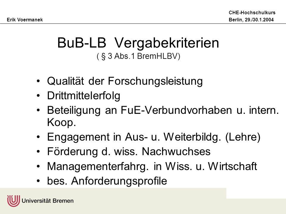 Erik VoermanekBerlin, 29./30.1.2004 CHE-Hochschulkurs (prakt.) Lösung des Kompetenz- problems bei BuB-LB keine Kontingentierung der Bezüge-Arten Einvernehmen Uni/Staat bei der Vergabe Leistungsvereinbarung; Kontrolle durch Uni