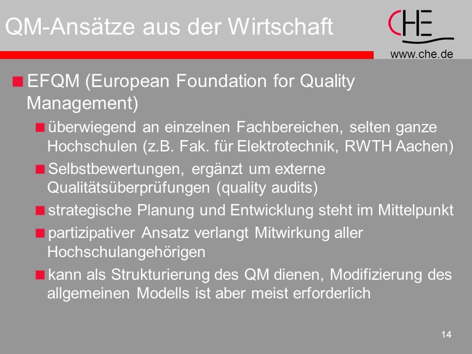 www.che.de 14 QM-Ansätze aus der Wirtschaft EFQM (European Foundation for Quality Management) überwiegend an einzelnen Fachbereichen, selten ganze Hoc