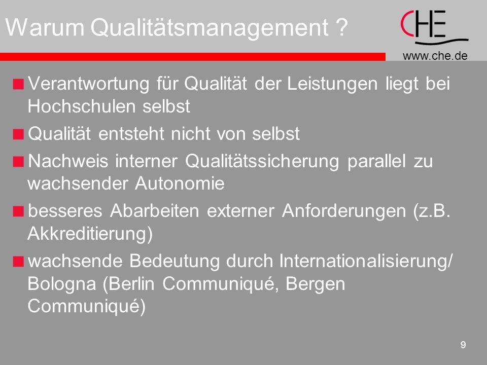 www.che.de 9 Warum Qualitätsmanagement ? Verantwortung für Qualität der Leistungen liegt bei Hochschulen selbst Qualität entsteht nicht von selbst Nac