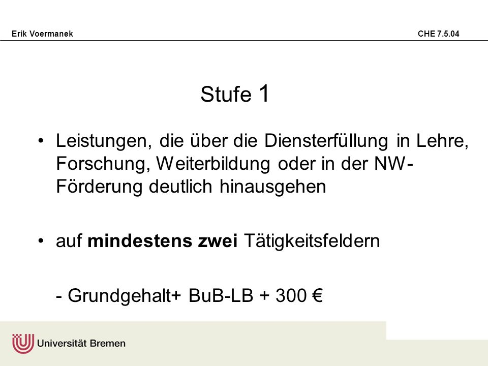 Erik Voermanek CHE 7.5.04 Stufe 1 Leistungen, die über die Diensterfüllung in Lehre, Forschung, Weiterbildung oder in der NW- Förderung deutlich hinau