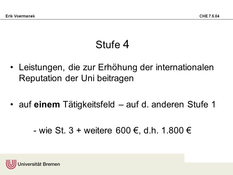 Erik Voermanek CHE 7.5.04 Stufe 4 Leistungen, die zur Erhöhung der internationalen Reputation der Uni beitragen auf einem Tätigkeitsfeld – auf d. ande