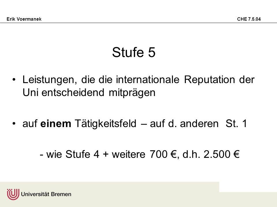 Erik Voermanek CHE 7.5.04 Stufe 5 Leistungen, die die internationale Reputation der Uni entscheidend mitprägen auf einem Tätigkeitsfeld – auf d. ander