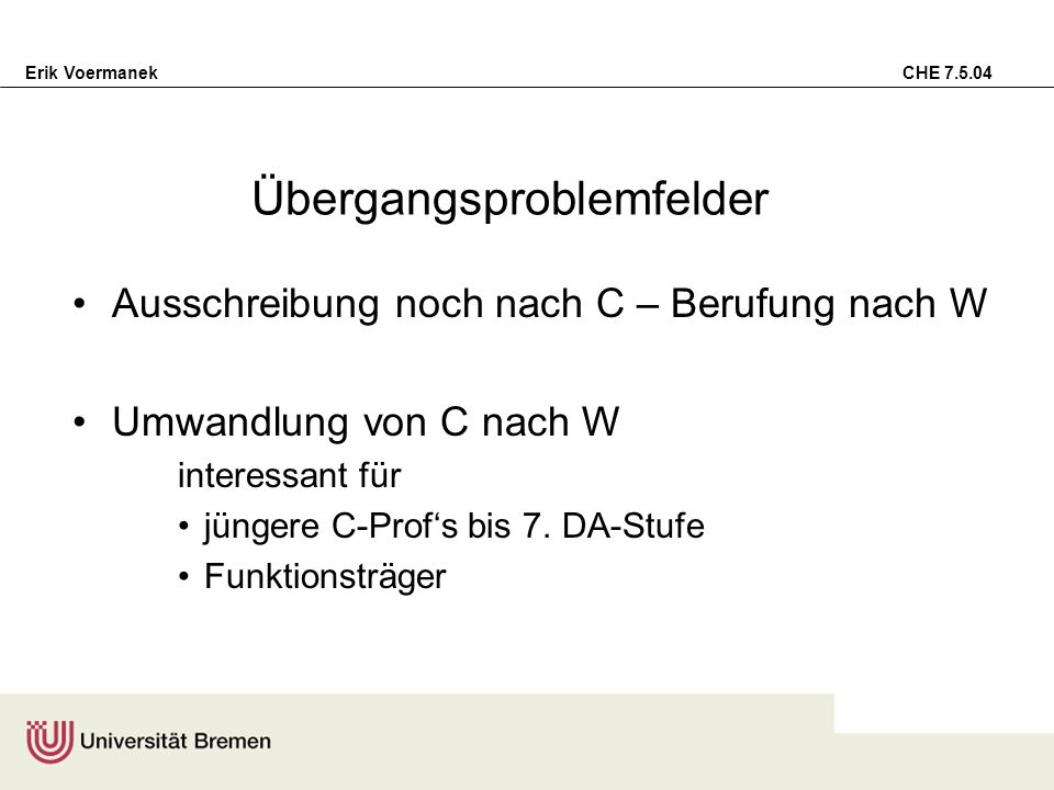 Erik Voermanek CHE 7.5.04 Übergangsproblemfelder Ausschreibung noch nach C – Berufung nach W Umwandlung von C nach W interessant für jüngere C-Profs b