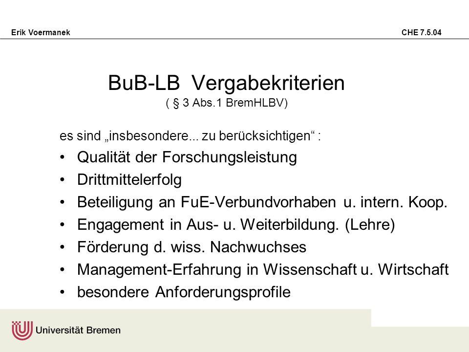 Erik Voermanek CHE 7.5.04 (prakt.) Lösung des Kompetenz-Problems bei BuB-LB keine Mittelkontingentierung für LB-Arten Einvernehmen Uni/Staat bei Vergabe der BuB-LB Trennung von BuB- u.