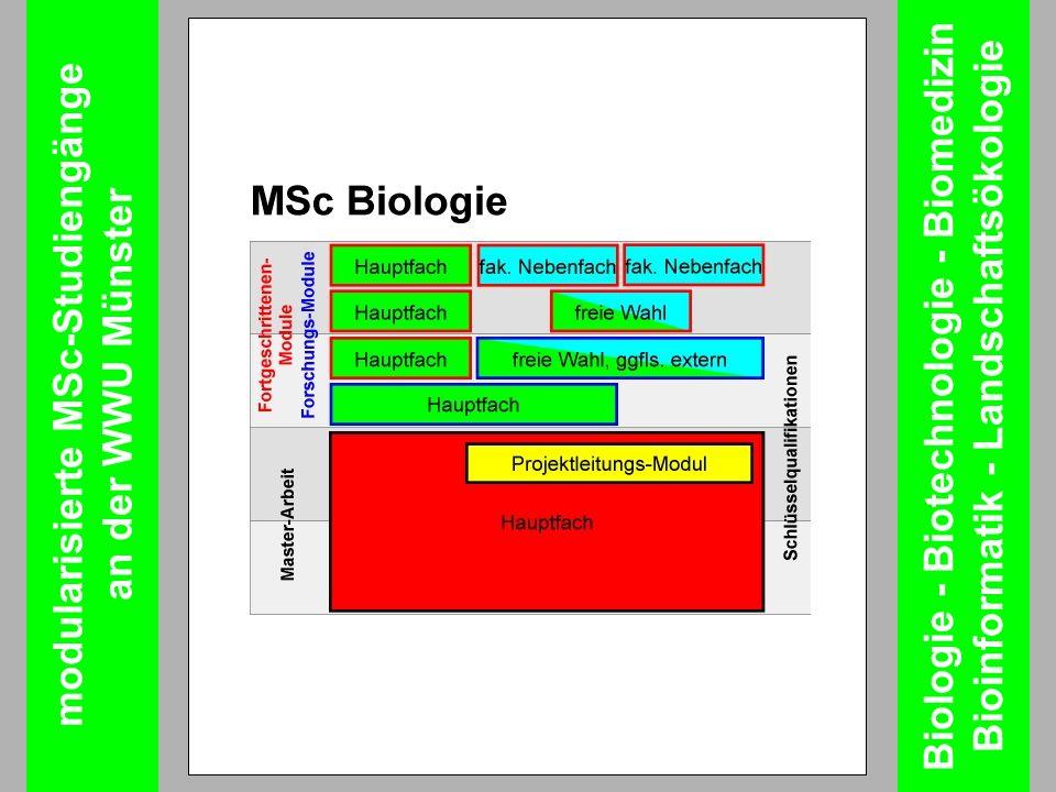 modularisierte MSc-Studiengänge an der WWU Münster Biologie - Biotechnologie - Biomedizin Bioinformatik - Landschaftsökologie