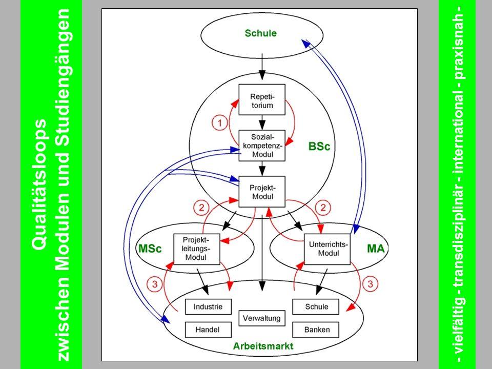 Qualitätsloops zwischen Modulen und Studiengängen - vielfältig - transdisziplinär - international - praxisnah -