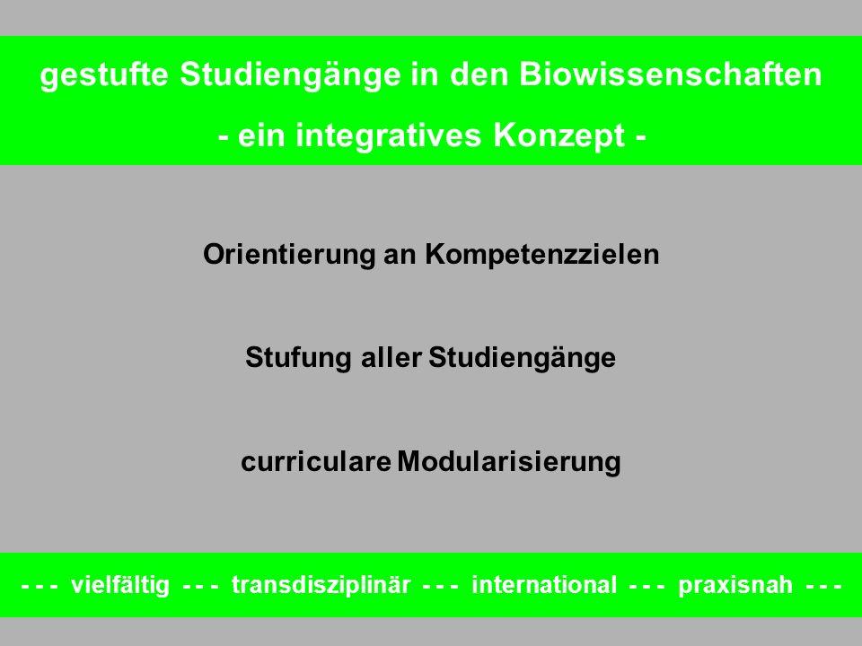 Orientierung an Kompetenzzielen Stufung aller Studiengänge curriculare Modularisierung - - - vielfältig - - - transdisziplinär - - - international - -