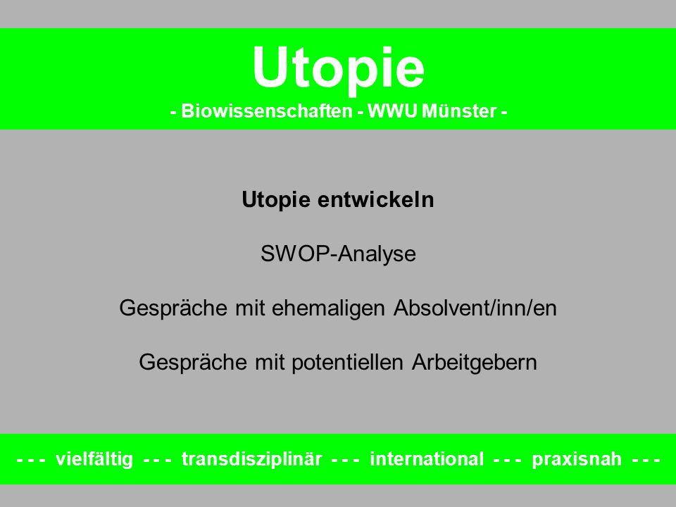 Utopie entwickeln SWOP-Analyse Gespräche mit ehemaligen Absolvent/inn/en Gespräche mit potentiellen Arbeitgebern - - - vielfältig - - - transdisziplin