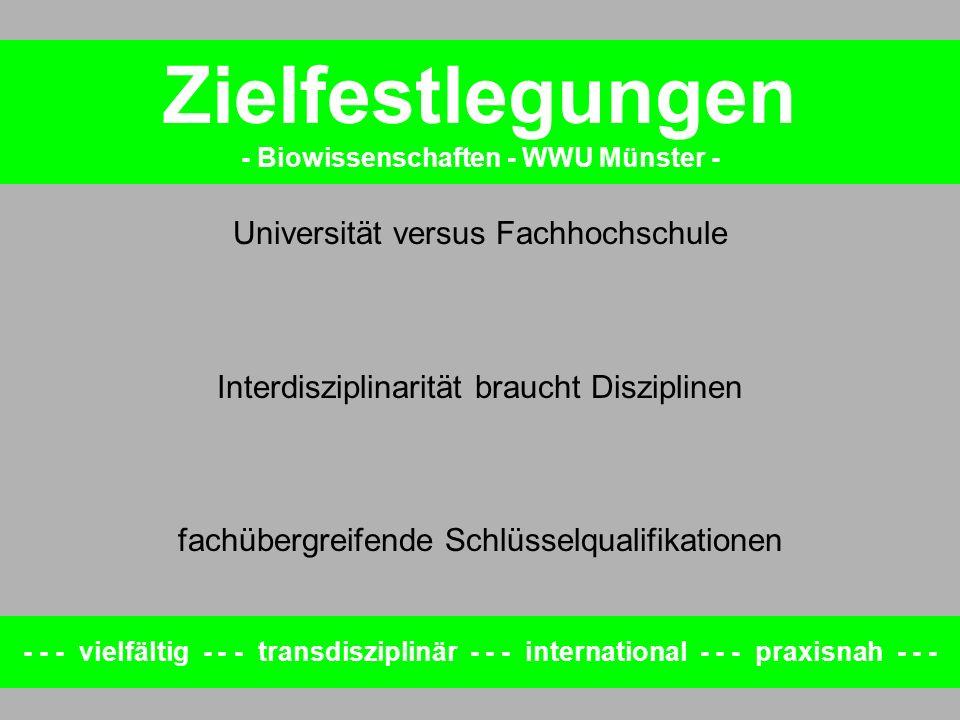 - - - vielfältig - - - transdisziplinär - - - international - - - praxisnah - - - Zielfestlegungen - Biowissenschaften - WWU Münster - Universität versus Fachhochschule Wissenschafts-orientierte BSc Forschungs-orientierte MSc Interdisziplinarität braucht Disziplinen disziplinäre BSc interdisziplinäre MSc fachübergreifende Schlüsselqualifikationen fachintegriert in BSc und MSc