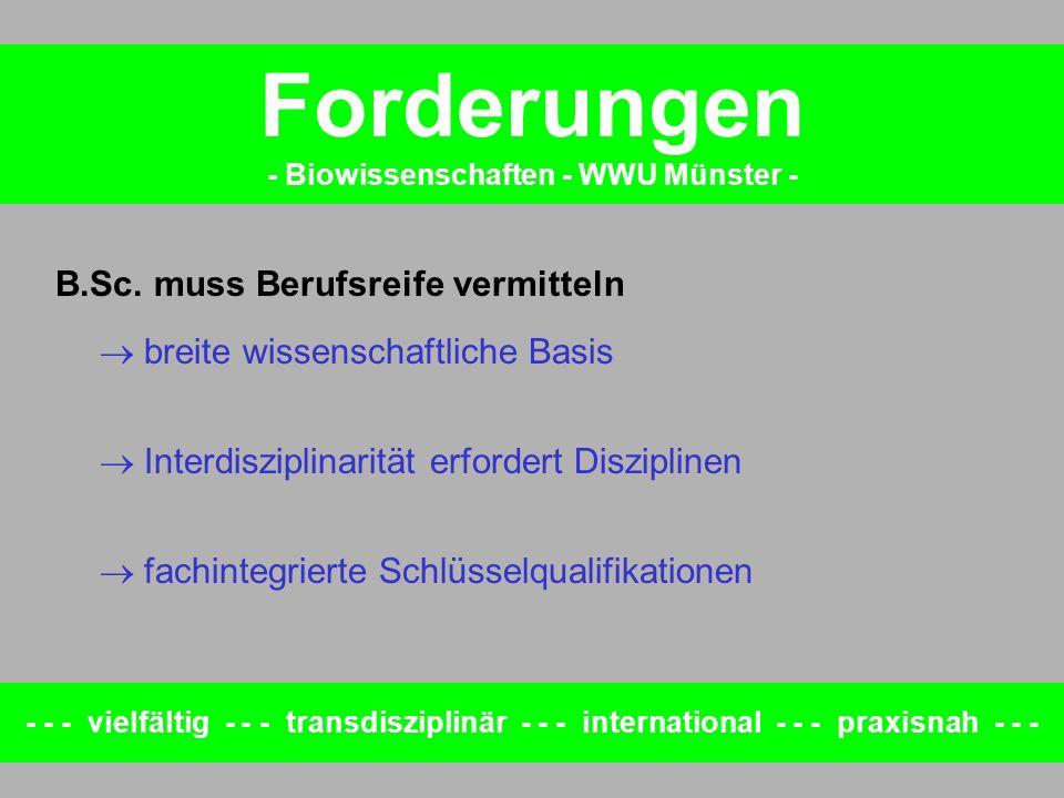 Forderungen - Biowissenschaften - WWU Münster - - - - vielfältig - - - transdisziplinär - - - international - - - praxisnah - - - B.Sc. muss Berufsrei