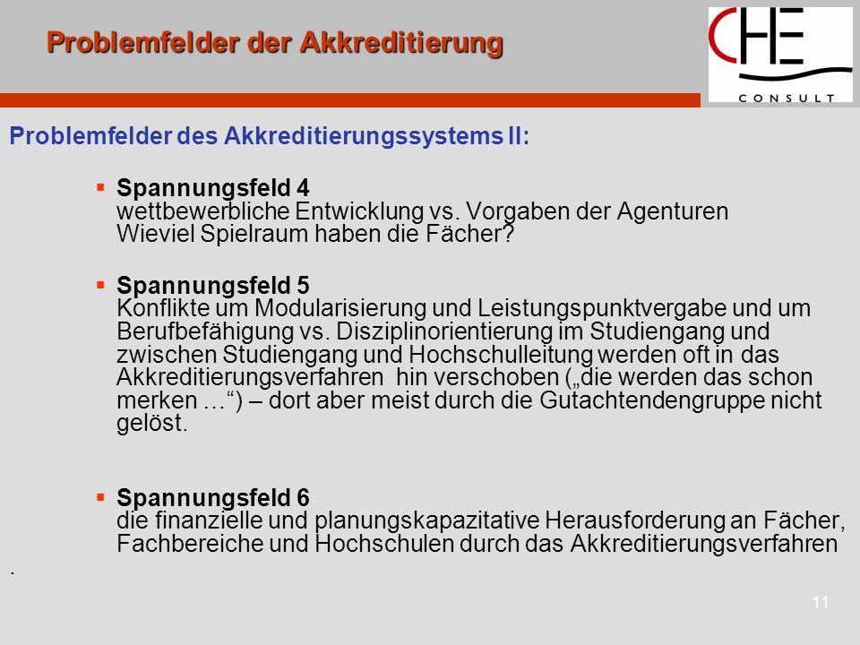 11 Problemfelder der Akkreditierung Problemfelder des Akkreditierungssystems II: Spannungsfeld 4 wettbewerbliche Entwicklung vs. Vorgaben der Agenture
