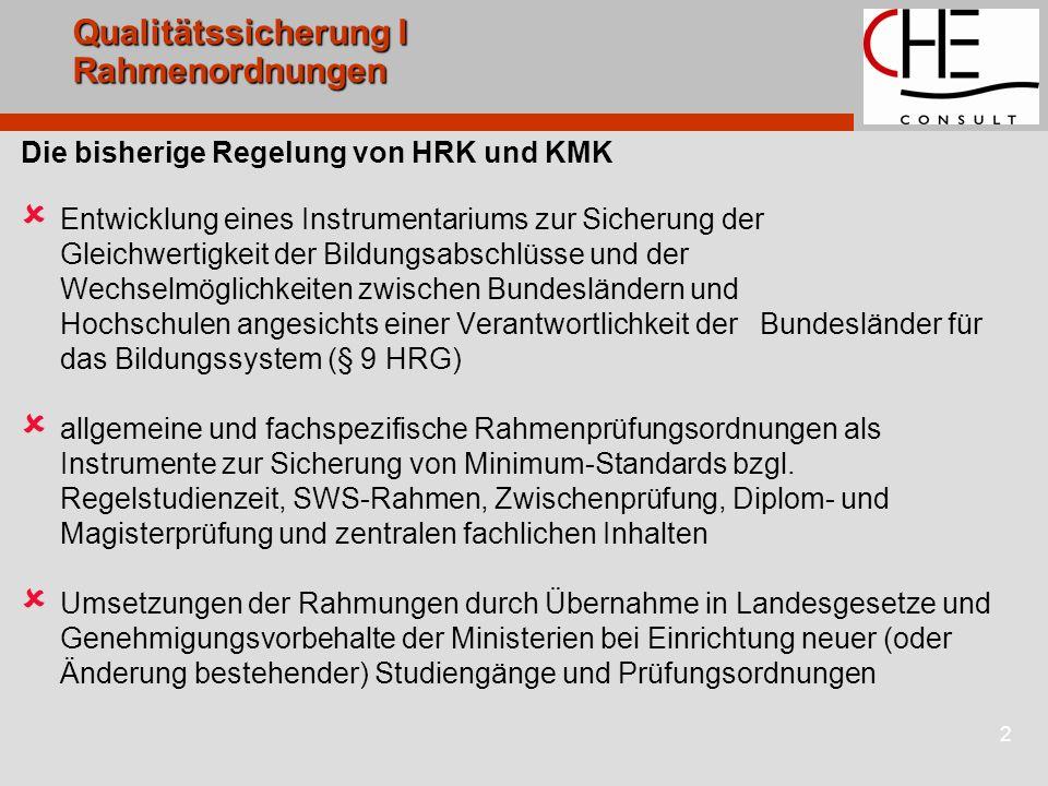 2 Qualitätssicherung I Rahmenordnungen Die bisherige Regelung von HRK und KMK Entwicklung eines Instrumentariums zur Sicherung der Gleichwertigkeit de