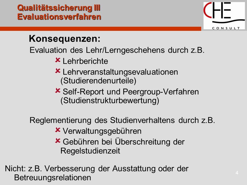 4 Qualitätssicherung III Evaluationsverfahren Konsequenzen: Evaluation des Lehr/Lerngeschehens durch z.B. Lehrberichte Lehrveranstaltungsevaluationen