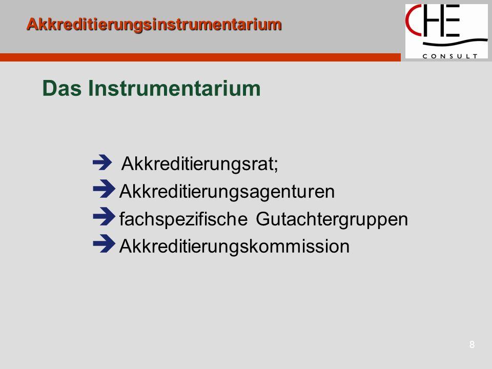 8Akkreditierungsinstrumentarium Das Instrumentarium Akkreditierungsrat; Akkreditierungsagenturen fachspezifische Gutachtergruppen Akkreditierungskommi