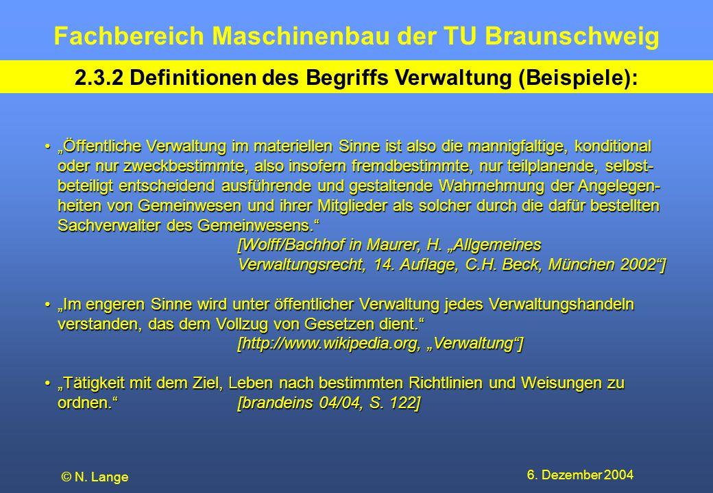 Fachbereich Maschinenbau der TU Braunschweig 6. Dezember 2004 © N. Lange 2.3.2 Definitionen des Begriffs Verwaltung (Beispiele): Öffentliche Verwaltun