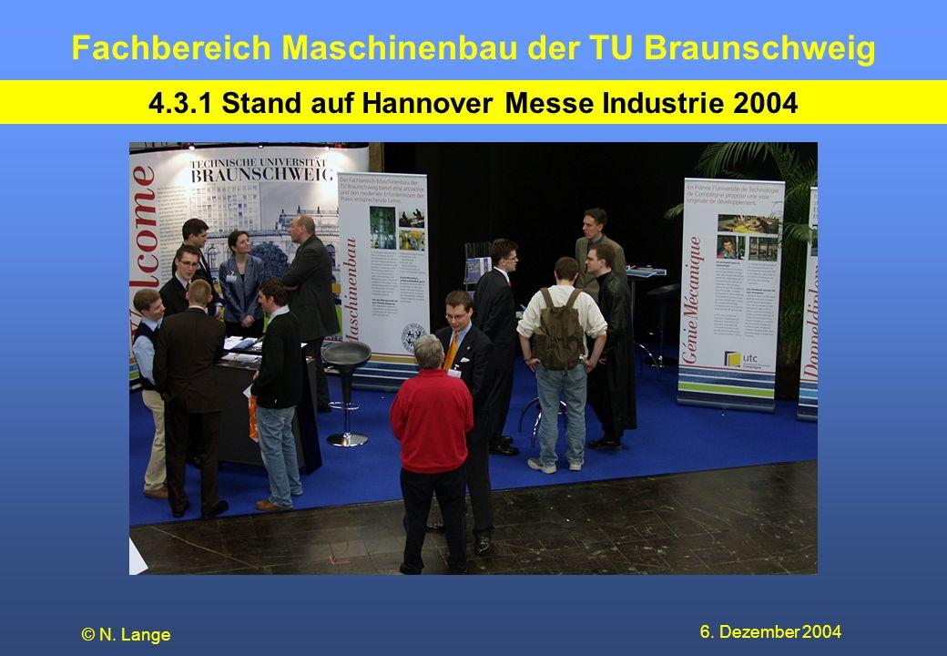 Fachbereich Maschinenbau der TU Braunschweig 6. Dezember 2004 © N. Lange 4.3.1 Stand auf Hannover Messe Industrie 2004