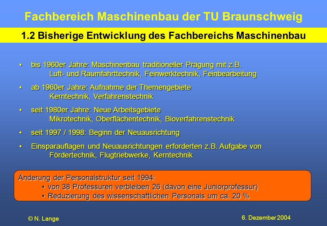 Fachbereich Maschinenbau der TU Braunschweig 6. Dezember 2004 © N. Lange 1.2 Bisherige Entwicklung des Fachbereichs Maschinenbau bis 1960er Jahre: Mas