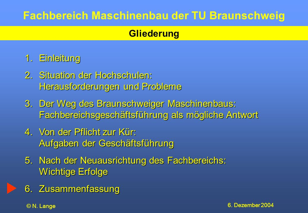 Fachbereich Maschinenbau der TU Braunschweig 6. Dezember 2004 © N. Lange Gliederung 1.Einleitung 2.Situation der Hochschulen: Herausforderungen und Pr